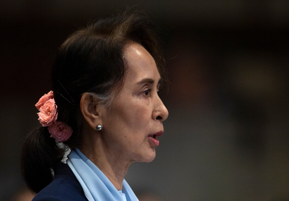 Myanmar leader Aung San Suu Kyi addresses judges of the International Court of Justice on the second day of three days of hearings in a genocide lawsuit against her country, at The Hague, Netherlands, Dec. 11, 2019. [AP]