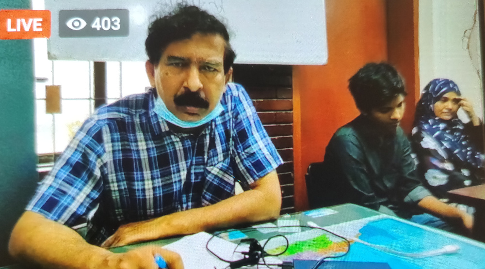 Lawyer Hasnat Qaiyum holds a news conference via Facebook Live after relatives of IT specialist and activist Didarul Islam Bhuiyan said he had gone missing, May 6, 2020. (Sharif Khiam/BenarNews)