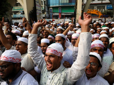 Activists demonstrate a day after police shot Bangladeshi Muslims protesting Facebook messages that allegedly defamed the Prophet Mohammad, Oct. 21, 2019.