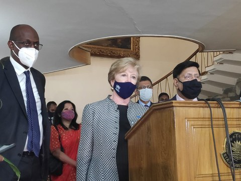 Senior UNHCR officials Gillian Triggs (center) and Raouf Mazou (left) respond to questions from reporters in Dhaka as Bangladesh Foreign Minister A.K. Abdul Momen looks on, June 2, 2021.