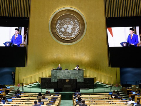 Indonesia's President Joko Widodo addresses the general debate of the 75th session of the United Nations General Assembly, at the U.N. in New York, on Sept. 22, 2020.