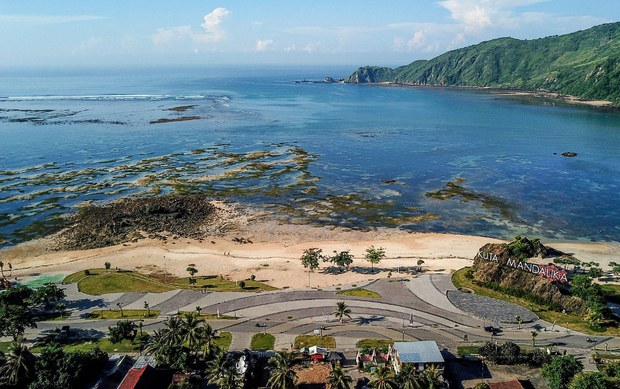 This aerial photo shows the Mandalika coastal development project in Lombok, Indonesia, the proposed site of a custom-built street circuit for motorcycle and auto racing, Feb. 23, 2019.