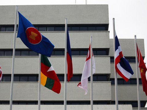 Flags are seen outside the Association of Southeast Asian Nations (ASEAN) secretariat building, ahead of a special ASEAN leaders' meeting in Jakarta, April 23, 2021.