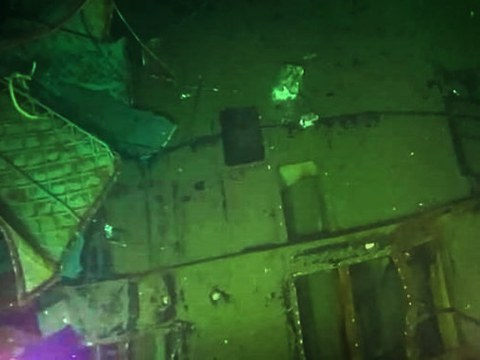 This image taken on April 25, 2021 by a Singaporean unmanned submersible vehicle and released by the Indonesian Military shows parts of the missing submarine, which has been found cracked apart on the seafloor in waters off Bali.