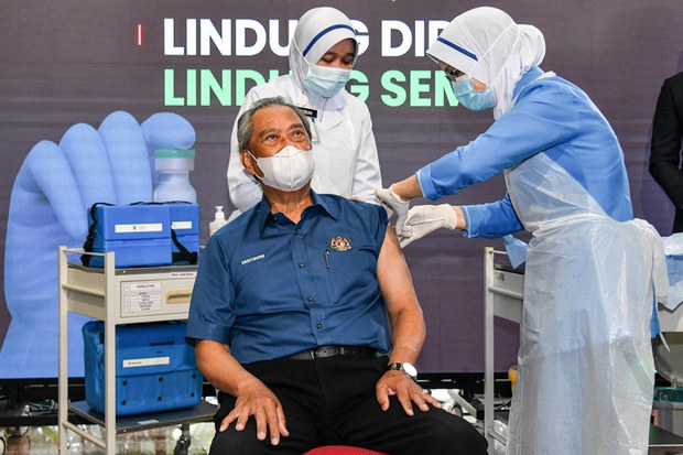 PM Muhyiddin Receives Malaysia's First COVID-19 Vaccine Shot