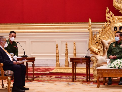 Senior General Min Aung Hlaing (right), the Myanmar armed forces chief, meets with Bruneian Second Minister of Foreign Affairs Erywan Yusof (left) in Naypyidaw, Myanmar, June 4, 2021.