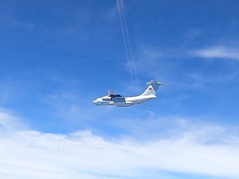 This handout photo from the Royal Malaysian Air Force, taken on May 31, 2021 and released on June 1, 2021, shows a Chinese air force Ilyushin Il-76 plane which, Malaysian authorities say, was in the airspace over Malaysia's maritime zone near the coast of Sarawak state on Borneo Island.