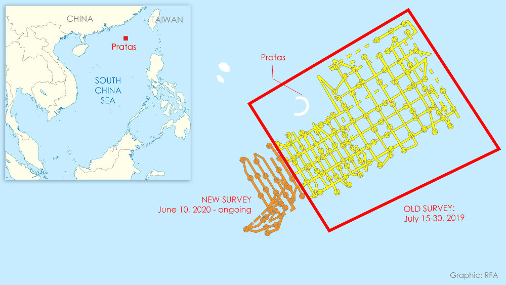 The path of Chinese survey ships near the Taiwan-occupied atoll of Pratas, shown by MarineTraffic ship-tracking software. The current survey by the Hai Yang 9 appears to be a continuation of a survey started last year in the same area.