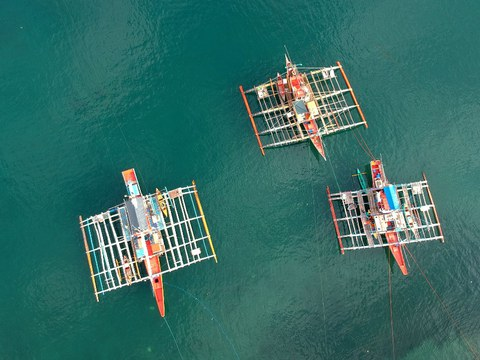 Fishing boats anchored along the Infanta fish port in Pangasinan, north of Manila, prepare for an expedition to the West Philippine Sea, May 27, 2021.
