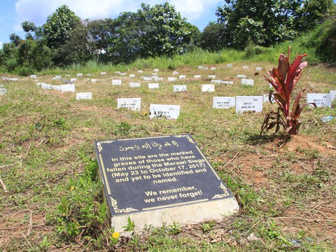 This corner of the Maqbara public cemetery in Marawi, southern Philippines, is dotted with grave markers for people who were killed during the five-month siege of the city by Islamic State-linked militants in 2017 but whose bodies have not been identified.