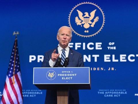 U.S. President-elect Joe Biden delivers remarks in Wilmington, Delaware, Nov. 10, 2020.
