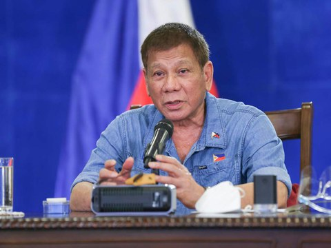 President Rodrigo Duterte talks during a meeting with members of the Inter-Agency Task Force on Emerging Infectious Diseases, in Davao, Philippines, Jan. 5, 2021.