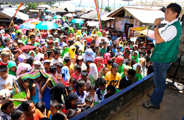 Montasser Sabal greets supporters during his 2010 campaign for mayor in Talitay town in Maguindanao province, southern Philippines.