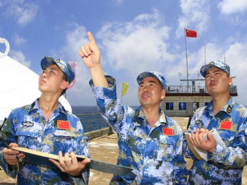 Chinese navy meteorologists carry out observations on Fiery Cross Reef in the Spratly Islands in 2010.