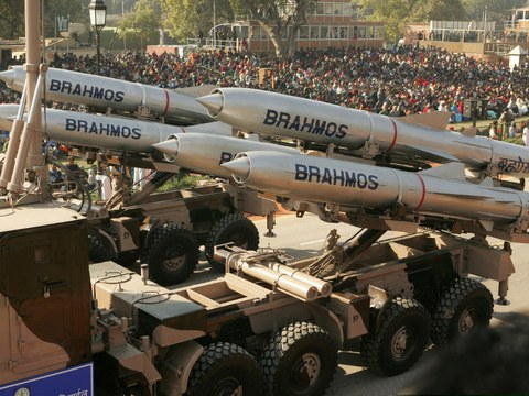The Indian Army displays BrahMos weapon systems during a full-dress rehearsal for the Republic Day parade in New Delhi, Jan. 23, 2015.