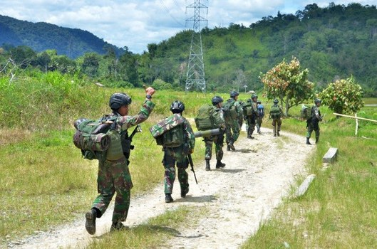 Indonesian military personnel conduct search operations to root out suspected MIT militants in Central Sulawesi province in Indonesia, Dec. 1, 2020.