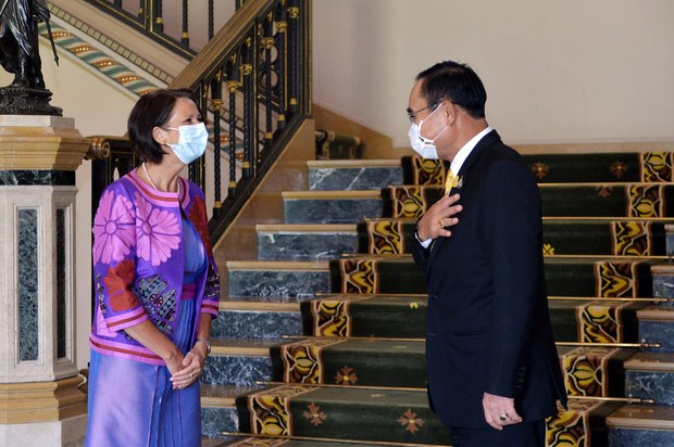 United Nations Special Envoy to Myanmar Christine Schraner Burgener (left), talks with Thai Prime Minister Prayuth Chan-o-cha during a meeting at Government House in Bangkok, May 14, 2021.