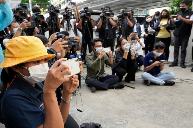 Thai reporters attend a press event in Bangkok, July 30, 2021.